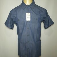 NEW Dickies Short Sleeve Size XL Occupational Wear Blue & Faded Black Stripes