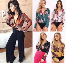 Women Ladies Floral Print Wrap Over Satin Tuxedo Collared Bodysuit Leotard Top