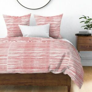 Black White Drawn Stripes Red Marker Spring Sateen Duvet Cover by Roostery