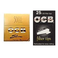 OCB GOLD PREMIUM KING SIZE SLIM BOOKLETS + OCB FILTER TIPS BLACK 25 BOOKLET