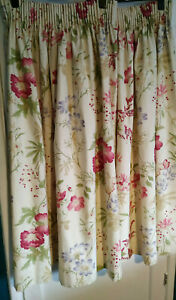 "13262)Laura Ashley Home curtains w floral pattern 40"" W total and 46"" L w hooks"