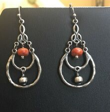 Silpada Sterling Silver Sponge Coral Chandelier  Bead Earrings RARE W1560 EUC