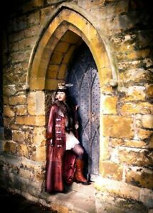 Women's Steampunk Full Length Victorian Gothic Long Coat Vintage Tan Brown