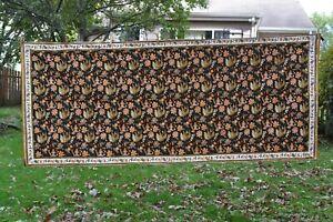 "Cotton batik fabric or curtain panel - black & brown floral print 41"" x 96"""