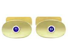Vintage 1950s 0.59 Ct Sapphire 14k Yellow Gold Cufflinks