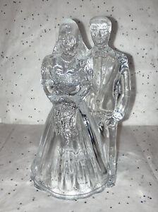 "Bride & Groom Wedding Cake Topper - Bridal Centerpiece - Crystal Glass 6.5x3.5"""