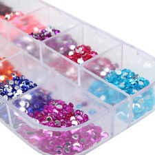 2500pcs Round Nail Art Rhinestones Glitter Decoration Mixed 12 Colors Set Kit