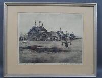 Walter Romberg (1898 - 1973) - Bauernhütten im Osten - handsignierte Radierung