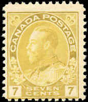 Mint NH Canada 7c 1916 F Scott #113 King George V Admiral Issue Stamp