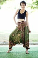 Harem Casual Trouser Boho Baggy Green Olives Yoga Gypsy Indian Hippie Pants B