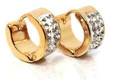NUOVO Princess Cut CZ Gemma spianato 18K Gold Filled abbraccino Cerchio Gioielli Orecchini