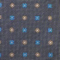 SAMUELSOHN Mens Gray Aqua Tan FLOWER SHAPE Self-tipped Woven Silk Tie Italy EUC