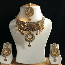 CLEAR GOLD INDIAN MUGHAL KUNDAN JEWELLERY NECKLACE EARRINGS CRYSTAL SET NEW 226