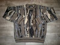 Vtg Protege 1990's Abstract Hip Hop Biggie BIG 3D Textured Men's Sweater Size LT
