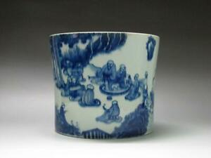 TH0507 Chinese Blue and white Eighteen Lohan Big pen holder porcelain Brush Pots