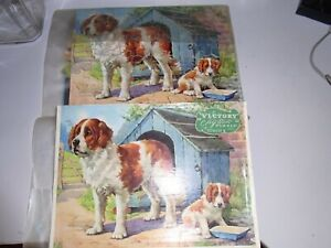 """Vintage Victory Plywood Jigsaw Puzzle """"Dog & Puppy""""  #A.N.53 ( Large 50 Pieces)"""
