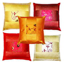 5 Pc Indian Decorative Floral Embroidery Square Silk Pillow Case Cushion Cover
