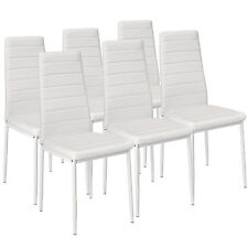 6 Modern Dining Chairs Dining Room Chair Table Faux Leather Furniture Cozy white