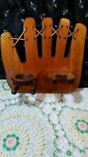 Vintage Wood Baseball Glove Shaped Bat/Glove/Ball Holder