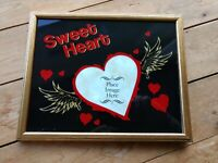 1980s Sweet Heart Glitter Glass Photo Frame 8x10 Picture Back Painted Vintage