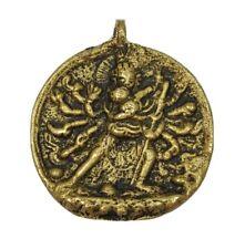 Vtg Solid Brass Goddess Shiva Hindu Medallion Necklace Pendant Tibetan Amulet