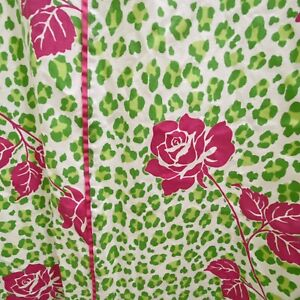 Tommy Hilfiger Shower Curtain Cloth Green Leopard Animal Print Pink Roses Preppy