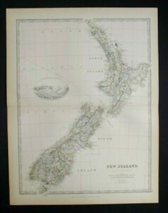 Antique Map: New Zealand by Alexander Keith Johnston, Handy Royal Atlas, 1884