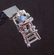 Vtg Wells Sterling Silver Enamel Moveable Baby High Chair Charm Pendant 23262