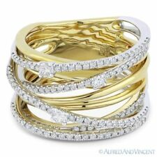 White Gold Right-Hand Overlap Fashion Ring 0.81ct Round Cut Diamond 14k Yellow &