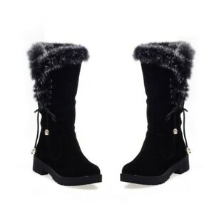 New Womens Suede Mid Calf Ankle Booties Tassel Lace Up Fur Trim Block Heel Shoes