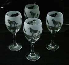 More details for bernese mountain dog gift wine glasses set of four..boxed.