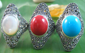 925 sterling silver LONG elegant Turquoise Red Coral MOP ring women size L M Q