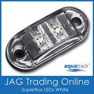 12V SUPERFLUX LED WHITE MARKER LIGHT/CLEARANCE LAMP - Boat/Trailer/Truck/Caravan