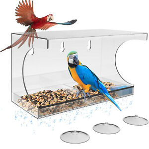 Window Clear Outdoor Hanging Birdhouse Bird Feeder with Strong Suction Cups