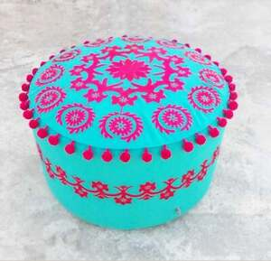 Indian Handmade Suzani Pouf Cover Throw Decorative Cotton Ottoman Round Pouffe