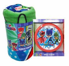 "Kids Pj Masks Good Evil Fleece Throw Blanket 45""x60"" w/Room Mount Clock"