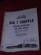 1962 Big 7 Shuffle arcade bowling Original Schematic & Manual BALLY Bowler