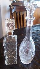 2 Beautifully Detailed Glass Decanters, Exceptional Condition, FREE SHIPPING