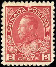 Mint H Canada F+ Scott #106 2c 1917-1922  King George V Admiral Stamp
