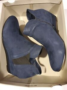 Croft & Barrow Women's Abril Ankle Boots Booties Navy Blue Size 10m $60