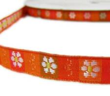"5 Yds Orange White Daisy Flowers Woven Jacquard Ribbon 3/8""W"