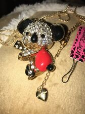 Cute NWT Betsey Johnson Necklace Gold Red Koala 🐨 Bear Adorable