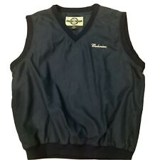 L Men's Budweiser Beer North End Navy Blue Lined Vest Coat All Climate wear VTG