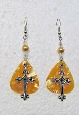 """Pearl Accented 2.75"""" Wire Drop Earrings Roman Catholic Cross - Gold Background"""