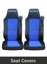 2 x VOLVO FH12 FH16 FL FM Seat Covers Tailored HGV Truck Lorry Black / Blue
