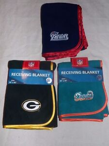 NFL Green Bay Packers, Bears, Patriots, Dolphins Infant Baby Receiving Blankets