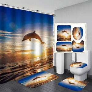 Jumping Dolphin Shower Curtain Bath Mat Toilet Cover Rug Sea Bathroom Decor