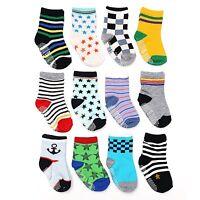 Baby Toddler Socks 12 Pairs Anti-Slip Non-Skid with Grips Unisex 2T & 3T Walker