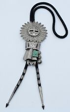 JERRY ROAN Native American Navajo sterling & Turquoise Kachina HUGE bolo tie