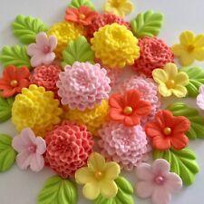 BRIGHT CHRYSANTHEMUMS Edible Sugar Paste Flowers Cake Cupcake Decorations